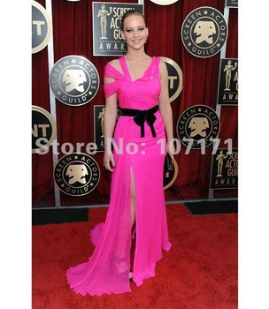 Jennifer Lawrence Spaghetti Strap Floor Length Split Chiffon Peach Evening Dress Celebrity Dress-in Celebrity-Inspired Dresses from Apparel & Accessories on Aliexpress.com