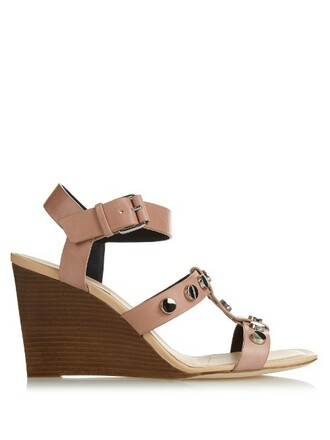 embellished sandals wedge sandals leather beige shoes