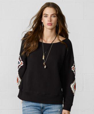 Denim & Supply Ralph Lauren Rock-and-Roll Graphic Sweatshirt - Sweaters - Women - Macy's