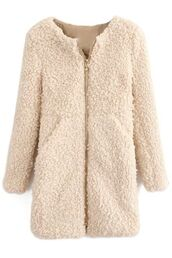coat,cream coat,fuzzy coat,fleece coat,zip front coat,winter coat,warm coat,www.ustrendy.com