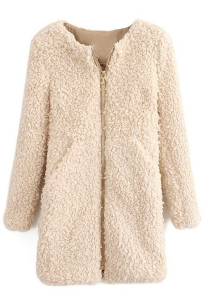 Coat: cream coat, fuzzy coat, fleece coat, zip front coat, winter ...