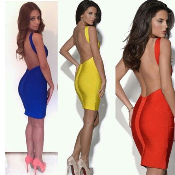 dress fitted dress backless dress bodycon bandage dress