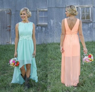 dress bridesmaid long bridesmaid dress mint dress orange dress country wedding modest dress bridesmaid dress long bridesmaid dress cheap chiffon chiffon skirt high low dress short dress short front backless dress lace dress prom dress