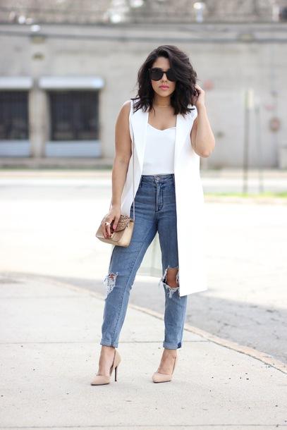 natymichele blogger jacket top jeans shoes bag jewels