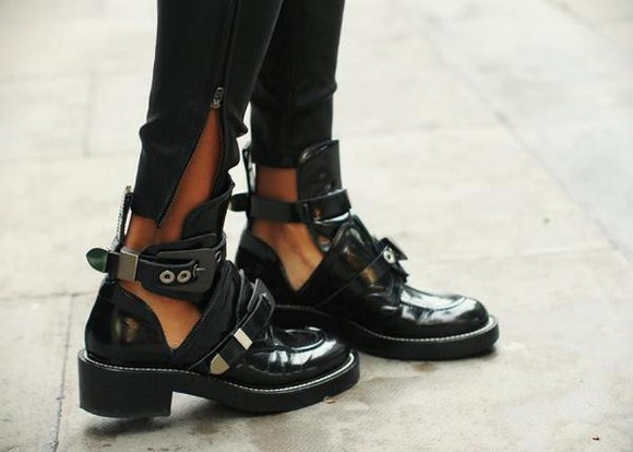 black tumblr shoes cut out ankle boots