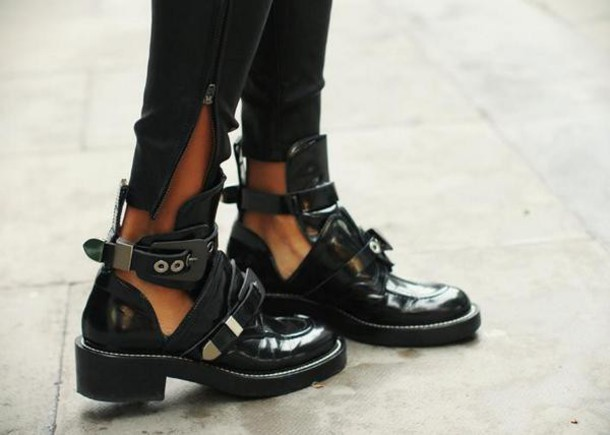 Shoes: black, tumblr, cut out ankle boots, leather shoes, leather ...