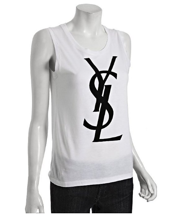 Yves saint laurent white cotton logo scoop neck tank