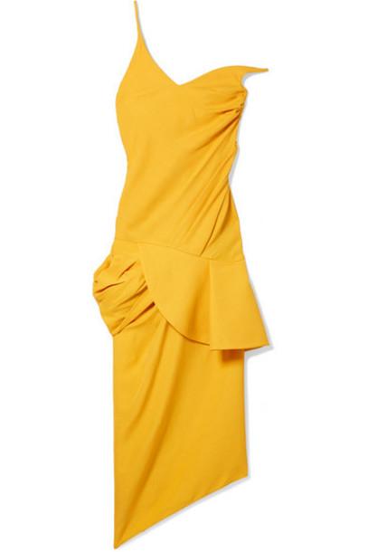 Jacquemus - La Robe Sol Off-the-shoulder Ruffled Canvas Midi Dress - Mustard