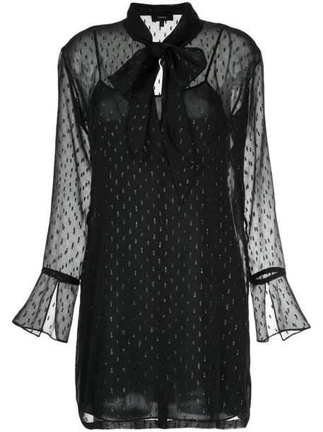 theory dress shirt dress sheer women black silk