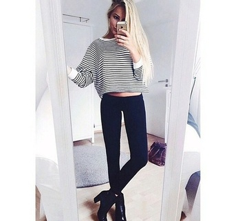 top black stripes white t-shirt shoes striped shirt
