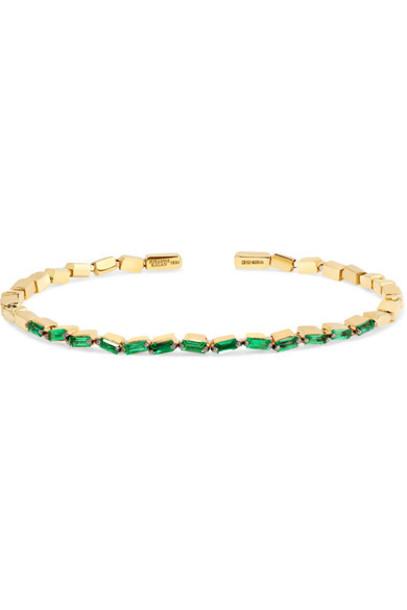 Suzanne Kalan - 18-karat Gold Emerald Cuff - one size