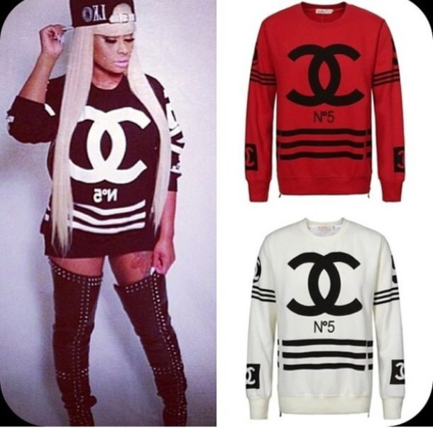 sweater chanel number 5 black red white black chyna