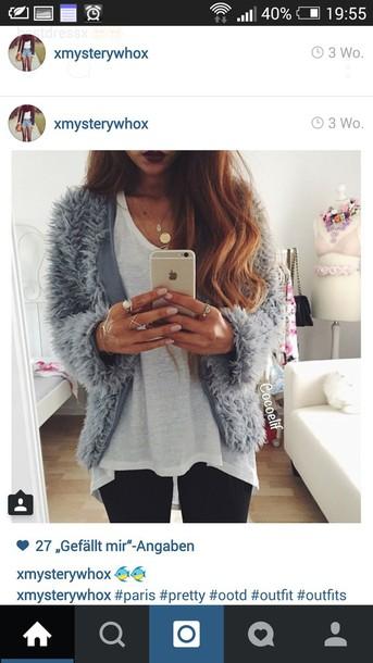 cardigan fluffy grey blue light blue jacket