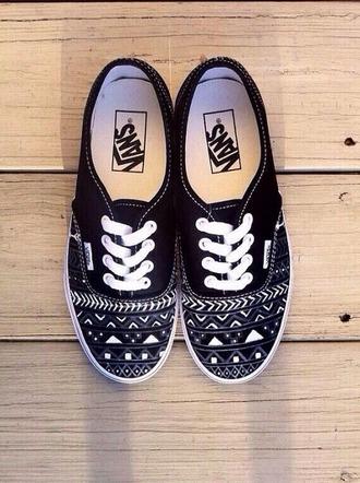vans shoes black white aztec