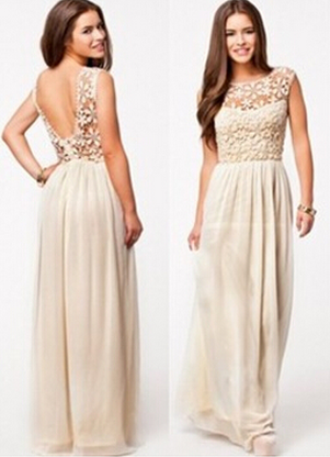 Summer Sleeveless Beige White Top Crochet Sexy Chiffon Maxi Dress  - Juicy Wardrobe
