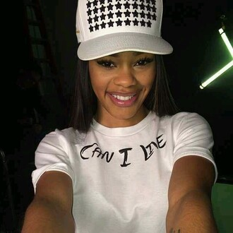 teyana taylor cap stars white t-shirt graphic tee celebrity style celine snapback black and white cute african american teyana taylor t-shirt love