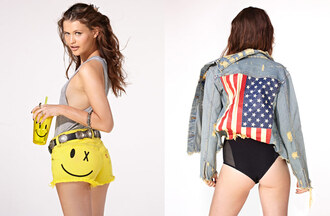 shorts nasty gal nastygal nastygal.com shopnastygal.com nasty gal lookbkook americana american flag bodysuit black bodysuit yellow shorts yellow gray tanktop jacket belt shirt tank top