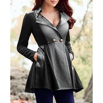 coat boobs cleavage leather streetstyle skater dress rose wholesale jacket trendy cool stylish warm cozy winter outfits black faux leather long sleeves clothes