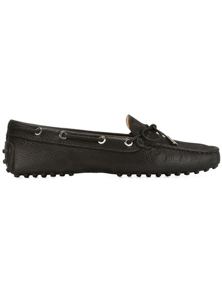 TOD'S women loafers leather black shoes