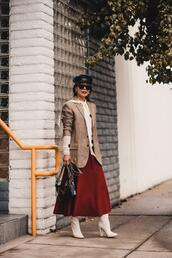 hallie daily,blogger,jacket,sweater,blouse,skirt,bag,shoes,fall outfits,white boots,fall colors,red skirt,blazer