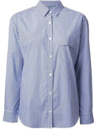 shirt striped shirt women cotton blue top