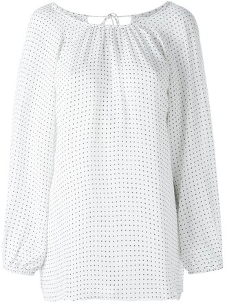 blouse print white top