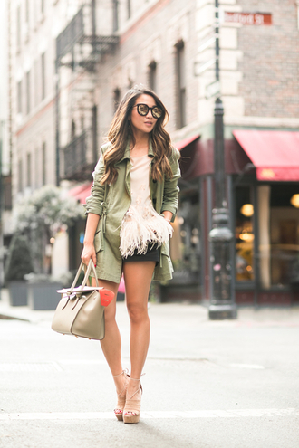 wendy's lookbook blogger jacket feathers olive green platform sandals