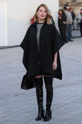 shoes léa seydoux french actress boots black boots over the knee boots over the knee coat black coat cape celebrity style celebrity