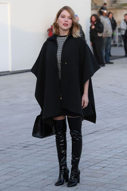 shoes léa seydoux french actress boots black boots over the knee boots over the knee coat black coat cape celebrity style celebrity