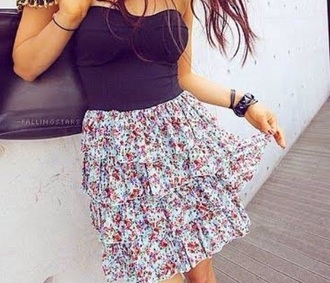 dress flowers floral frilly skirt floral skirt floral dress black top black dress frilly dress
