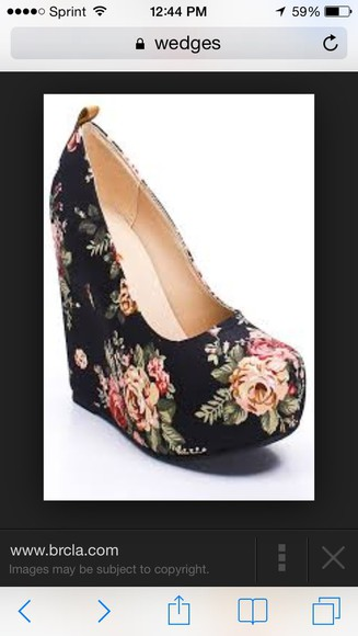 shoes platform shoes black floral floral