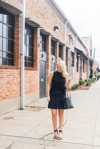 style archives | the style scribe blogger top skirt bag shoes jewels make-up button up button up denim skirt button up skirt denim skirt mini skirt blue skirt tote bag black bag sleeveless top sleeveless black top sandals sandal heels high heel sandals black sandals