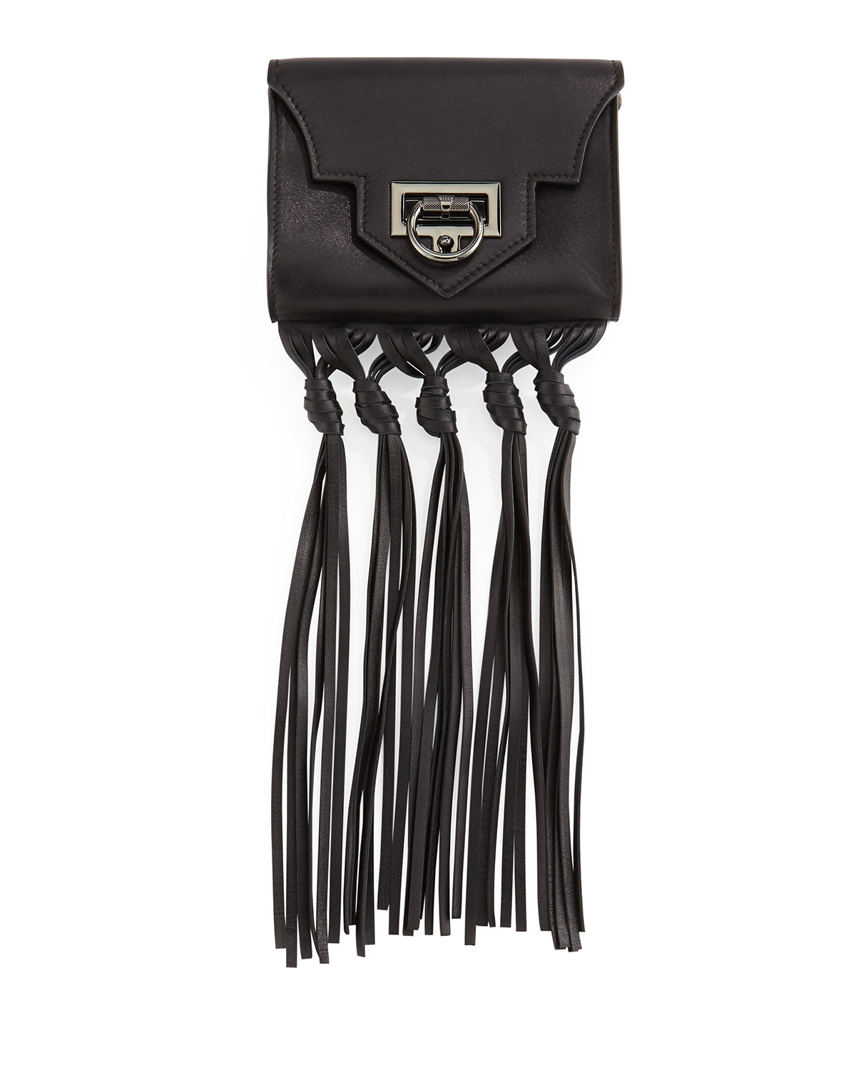 Reece Hudson Rider Mini Fringe Crossbody Bag, Black