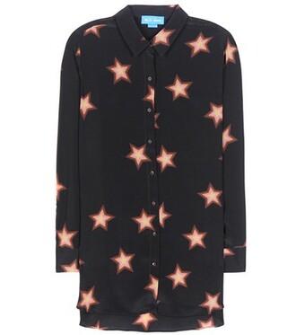 shirt silk black top