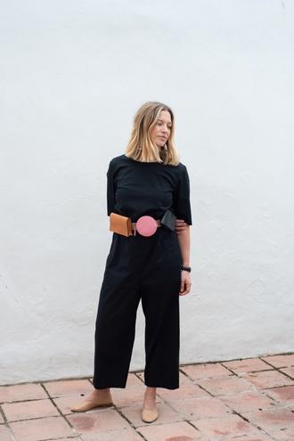 jumpsuit black jumpsuit tumblr belt belt bag shoes flats ballet flats bag