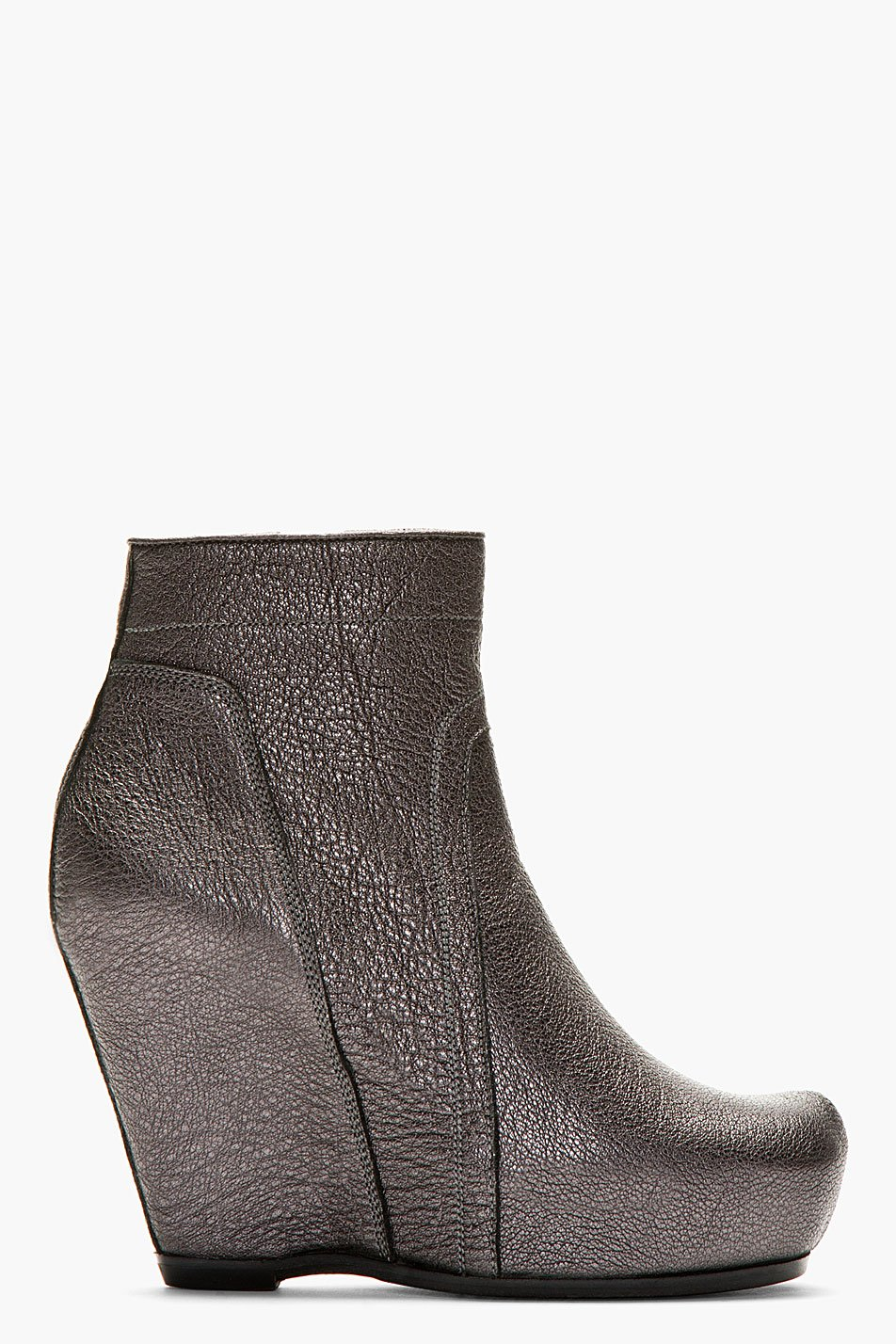 Rick owens metallic pewter leather classic wedge boots