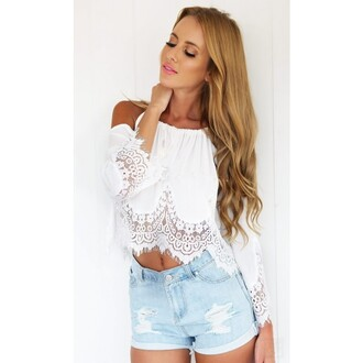 blouse white lace short shoulder crochet pierced off shoulder sexy lady fashion summer lace side girly young best outfit new arrival top