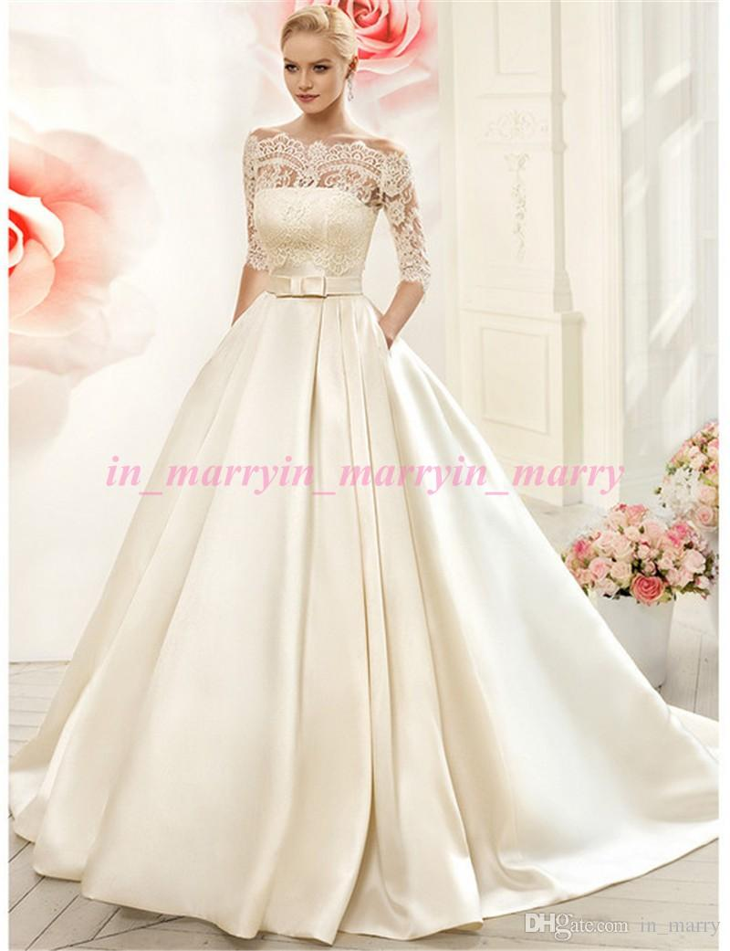 Naviblue Wedding Dresses with Pockets Off Shoulder 1/2 Long ...