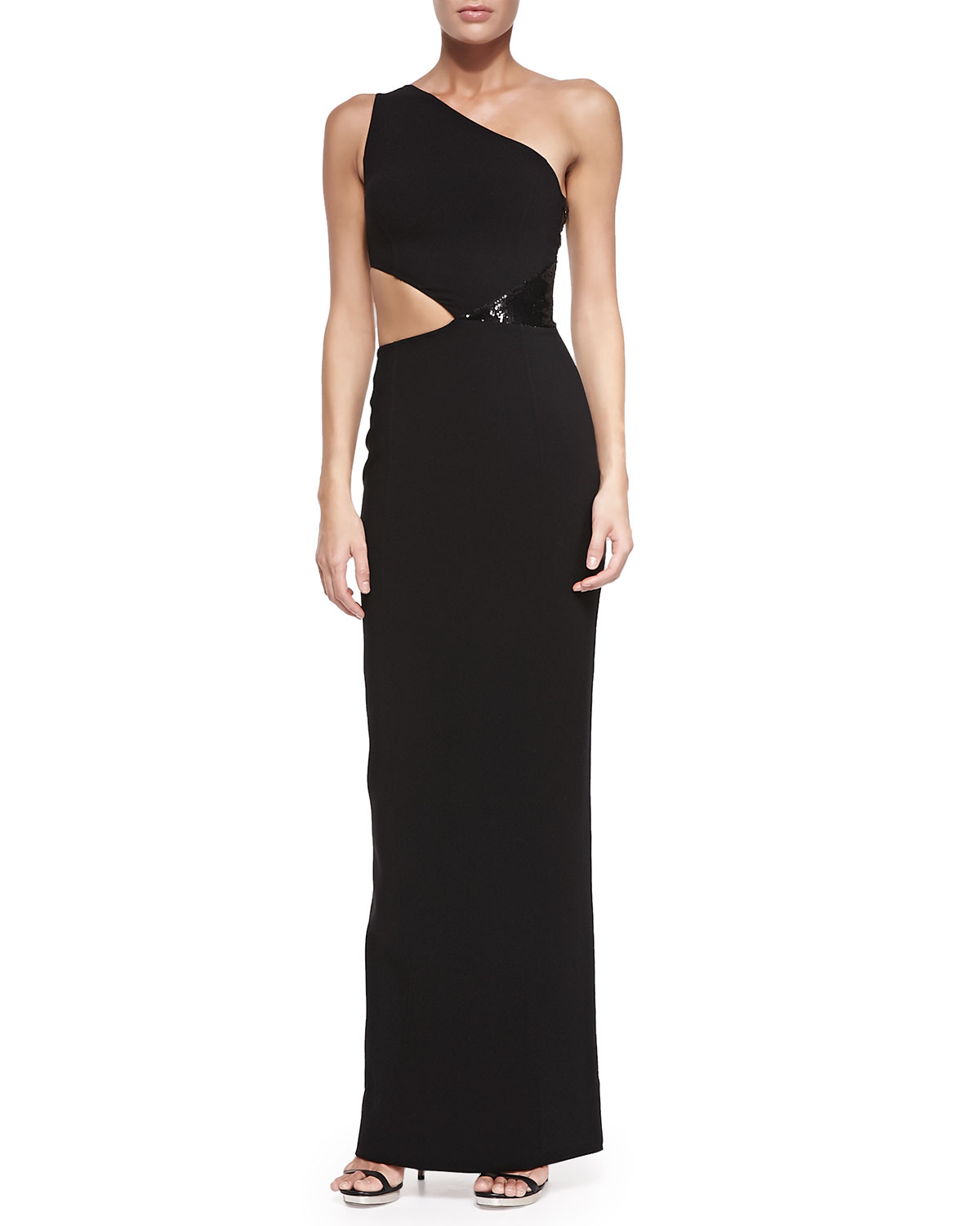 Shoulder cutout gown with sequins, black