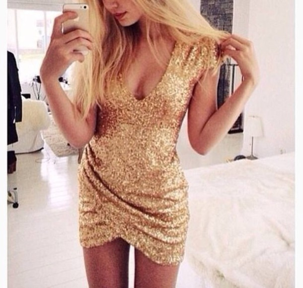 Hot v sexy elegant sequins shining golden dress