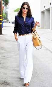 pants,Celebrity work outfits,work outfits,office outfits,wide-leg pants,white pants,shirt,blue shirt,bag,yellow bag,handbag,sunglasses,celebrity style,celebrity,alessandra ambrosio,model,model off-duty