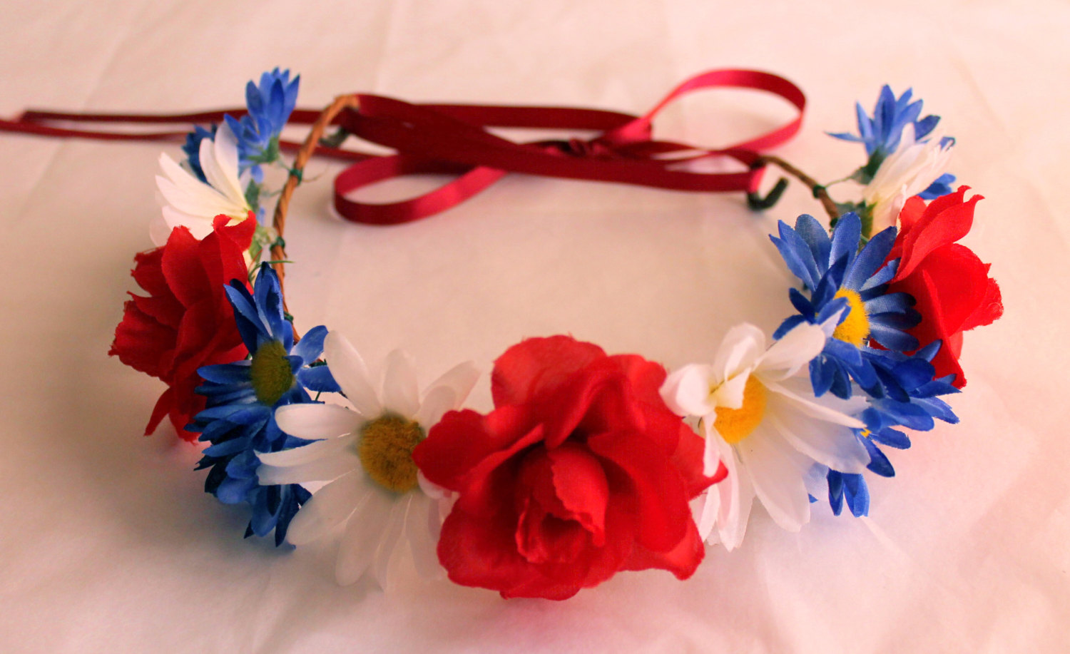 Red White And Blue Flower Crowns Adjustable Flower Headband Fourth