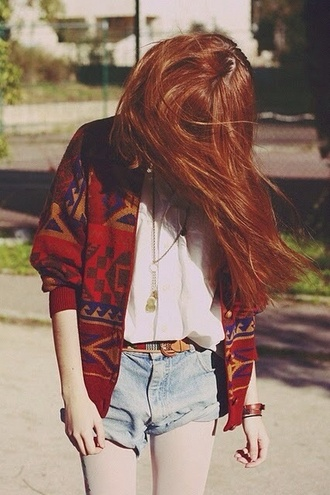 shorts blue jean shorts sweater blouse belt jacket red jacket red hippie aztec cardigan navajo