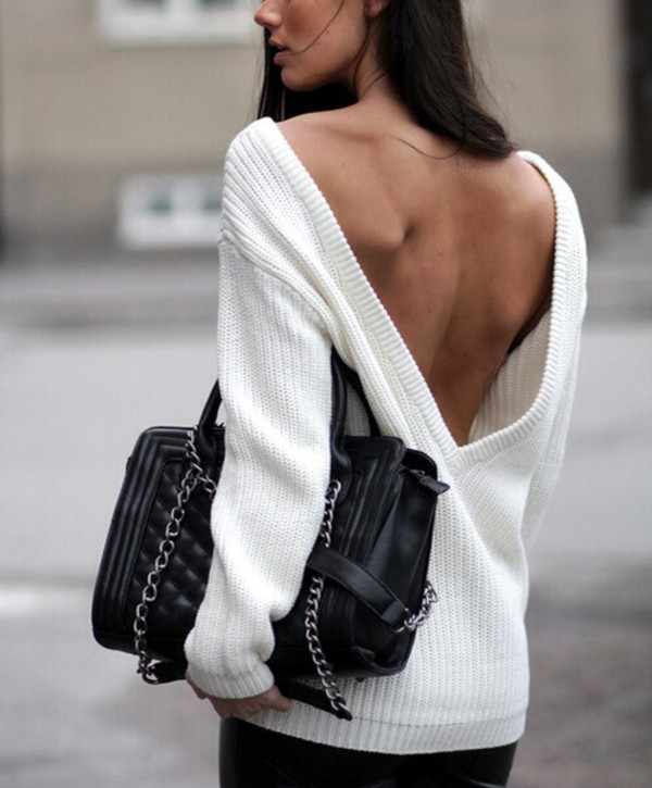 sweater pullover bag handbag winter sweater fashion fall sweater oversized sweater backless