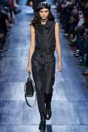 jumpsuit,all black everything,hat,beret,runway,model,Paris Fashion Week 2017,fashion week 2017,pants