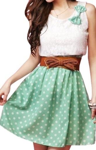 dress mint bow tie cute belt polka dots