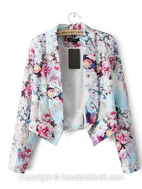 Green Lapel Long Sleeve Flowers Print Blazer - HandpickLook.com