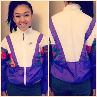 jacket windbreaker vintage stlye nike air zipper zip up collar geometric geometric pattern