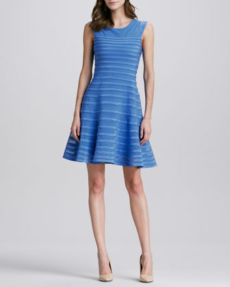 Halston Heritage Tonal-Stripe Flared Dress