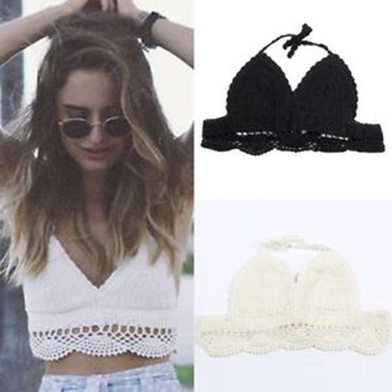 New women sexy crochet boho vest bra crop beachwear bralet bustier knit top cami